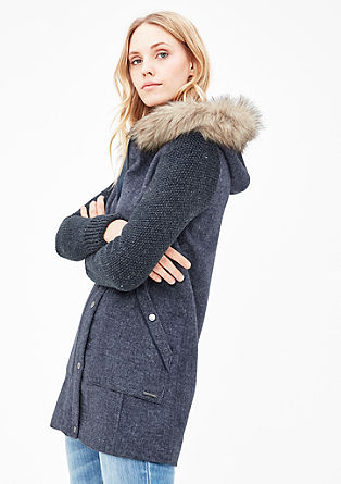 Wool coat with fake fur trim from s.Oliver