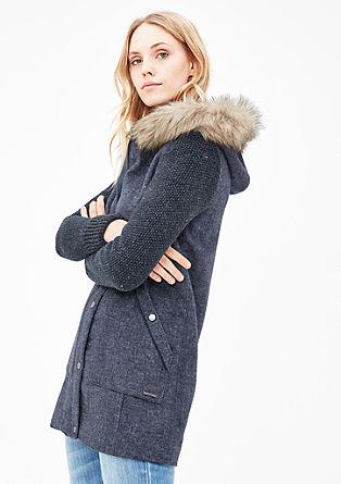 Wollmantel mit Fake Fur-Beleg