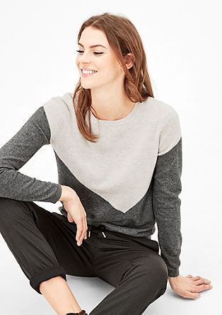 Colour block jumper with cashmere from s.Oliver