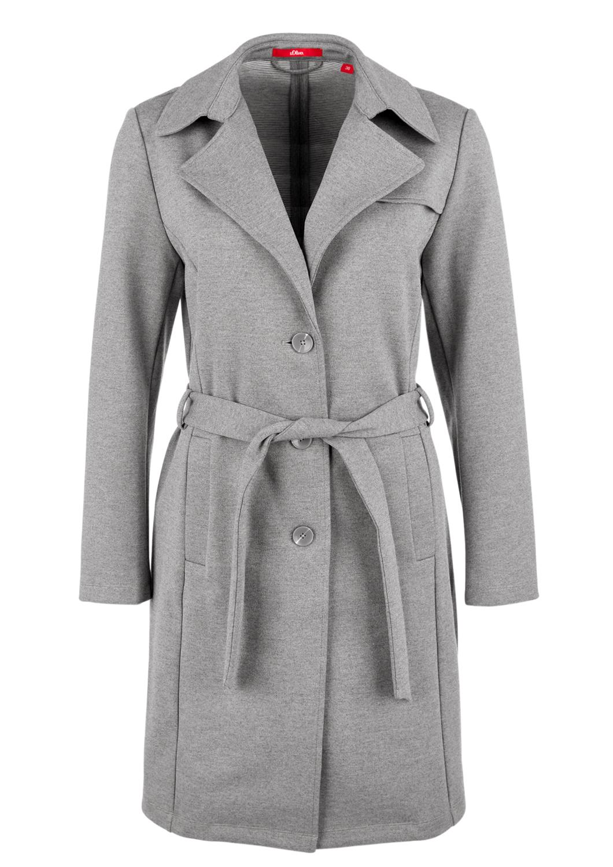 Jersey-Trenchcoat | Bekleidung > Mäntel > Trenchcoats | Grau/schwarz | 44% polyester -  40% viskose -  12% baumwolle -  4% elasthan | s.Oliver