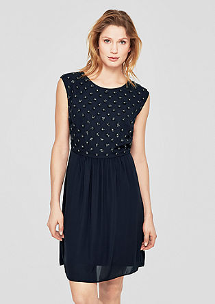 Lockeres Crêpe-Kleid mit Pailletten