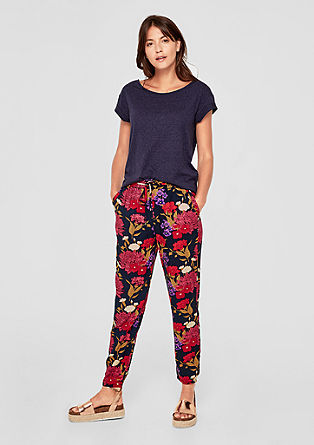 Casual cloth trousers with print from s.Oliver