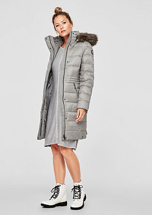 Down coat with a woven faux fur collar from s.Oliver