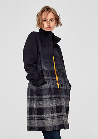 Wool coat with a graduated check pattern from s.Oliver