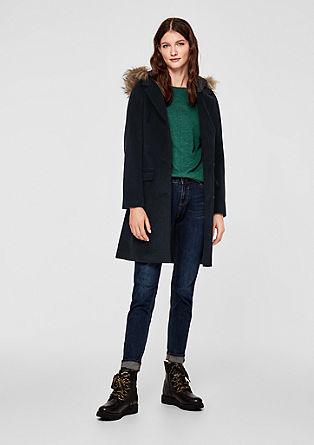 Manteau en laine à capuche surpiquée de s.Oliver