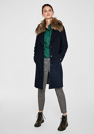 Wool coat with a faux fur collar from s.Oliver