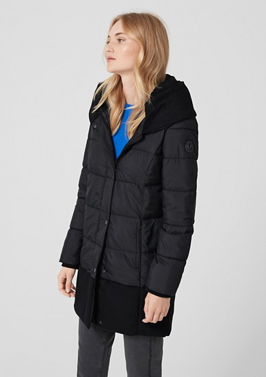 Quilted coat in mixed materials from s.Oliver