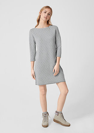 Knitted dress with metallic polka dots from s.Oliver
