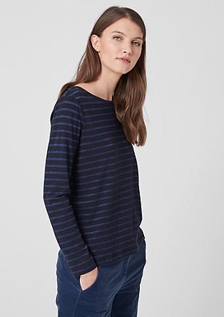 Long sleeve top with lurex stripes from s.Oliver