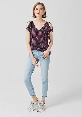 Print-Bluse mit Cut Outs