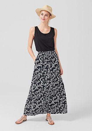 Krepová sukně skvětinovým potiskem