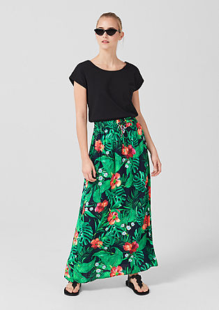 Crêpe skirt with a floral print from s.Oliver