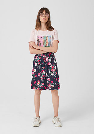 Jersey skirt with an all-over print from s.Oliver