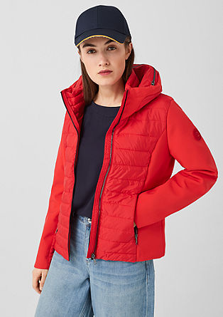 Quilted jacket with softshell details from s.Oliver