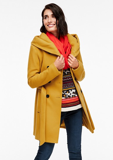 Double-breasted coat with hood from s.Oliver