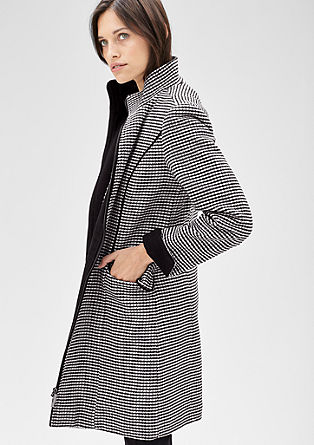 Wool coat with a houndstooth pattern from s.Oliver