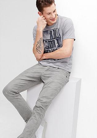 Stick Skinny: Hellgraue Stretch-Jeans