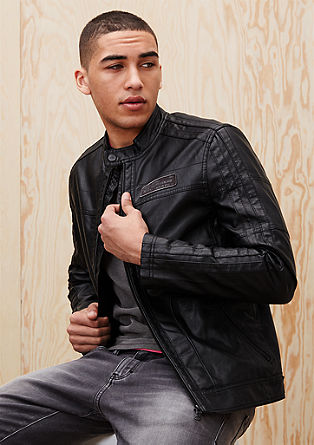 Jacket in an authentic leather look from s.Oliver