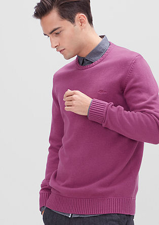 Cotton jumper with borders from s.Oliver