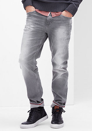 Tubx Straight: Graue Used-Jeans
