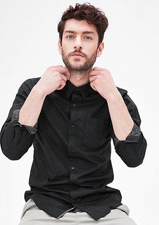 Slim fit: overhemd met printmotief aan de binnenkant