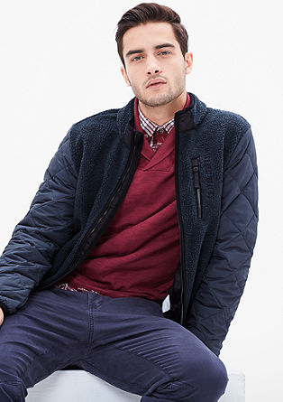 Fleece jacket with quilted sleeves from s.Oliver