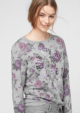 Pulover, potiskan s cvetličnim vzorcem