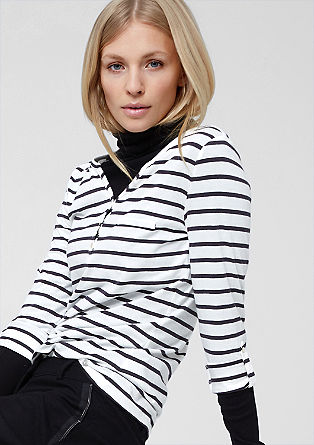 Long sleeve top with mother-of-pearl buttons from s.Oliver