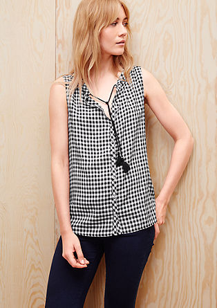 Check blouse with an ethnic tie from s.Oliver