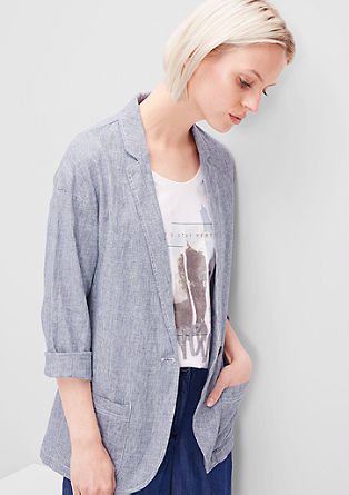 Striped linen blend blazer from s.Oliver