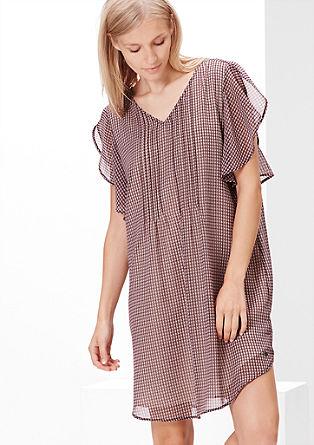 Chiffon-Kleid mit Volant-Ärmeln