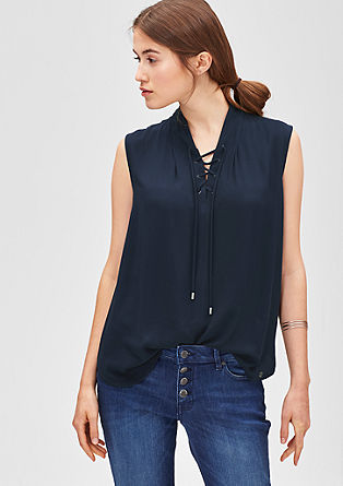 Lace-up viscose blouse from s.Oliver