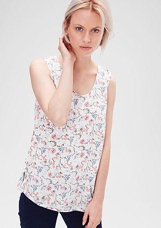 Ärmellose Bluse mit floralem Muster