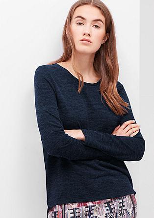 Fijn gebreide trui met blouseachtig achterpand