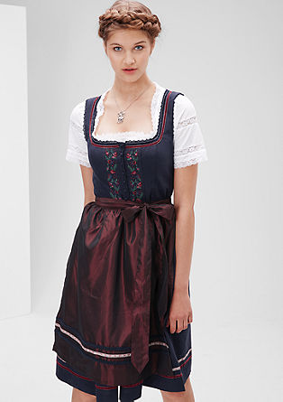Embroidered dirndl with a satin apron from s.Oliver