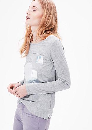 Printed shirt met glittersteentjes