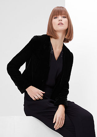 Short velvet blazer from s.Oliver