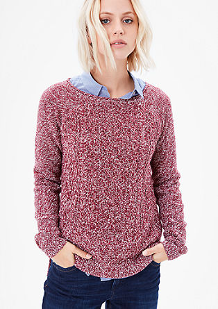 Melange jumper with patterned front from s.Oliver