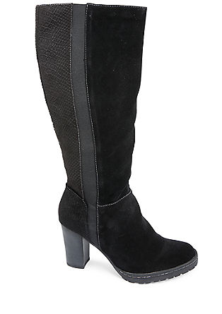 Materialmix-Stiefel mit Animal-Optik