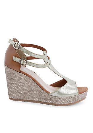 Sandalen met sleehak en metallic look