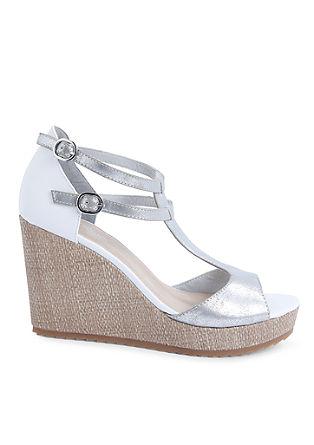 Keil-Sandaletten im Metallic-Look