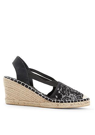 Sandalen met sleehak en 2-zijdige pailletjes