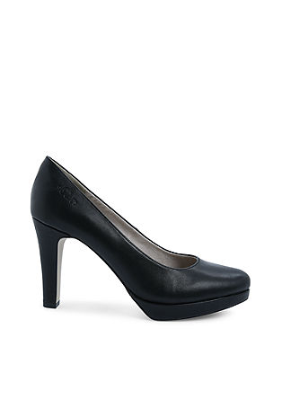 Plateau-Pumps im Leder-Look