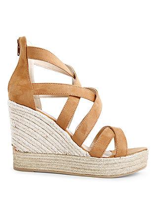 Keil-Sandaletten im Materialmix