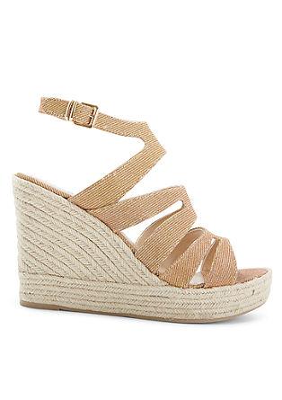 Sandalen met sleehak met glanzend effect