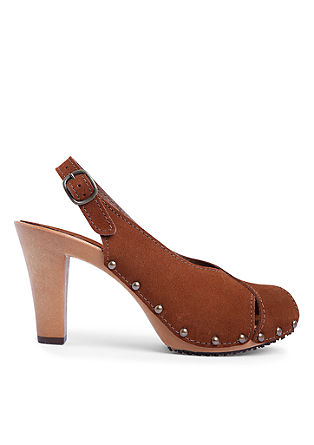 Veloursleder-Sandaletten mit Nieten