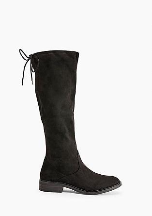 Flache Stiefel aus Velours