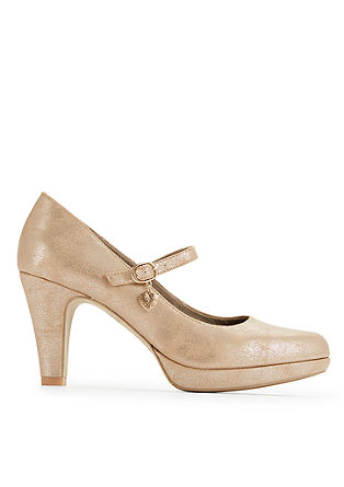 Glanzende pumps met plateauzool