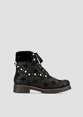 Leder-Boots mit Musterprägung