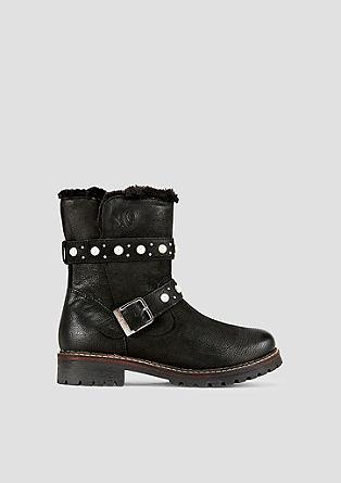 Leder-Boots mit Plüschfutter